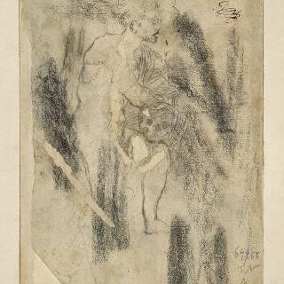 왼쪽 무릎 위에 지팡이를 들고 있는 남자 우측 측면