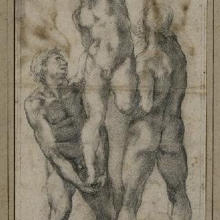 세 번쨰 남자를 매고 서 있는 벌거벗은 두 남자