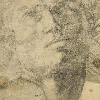 남자의 두상 앞모습과 위쪽에 고정된 시선