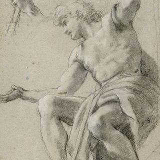 몸을 기울여 앉아 있는 남자 습작. 지팡이를 집고 있는 왼손 습작