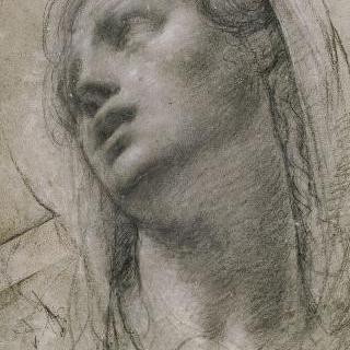 4분의 3각도의 여자 두상, 하늘을 향한 눈