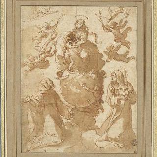성 프랑수아, 성녀 클레르, 그리고 지구형 위의 성모와 아기