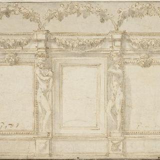 벌거벗은 두 남성과 두 형상이 있는 건축 장식 초안