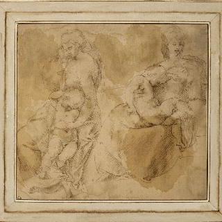 아이를 안고 있는 두 여인 : 앉아있는 한 여인과 서 있는 다른 여인