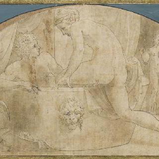 목욕하는 마르스와 비너스, 두 명의 에로스들과 두 하녀들