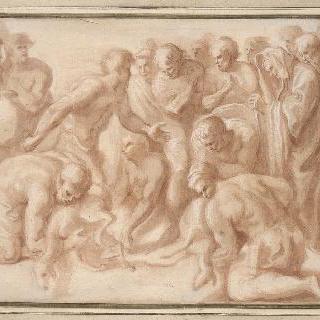 플루톤에게 검은 염소를 제물로 바치는 오디세우스