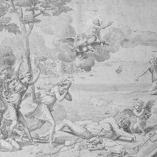 다이아나와 오리온 이야기 : 제우스에게 간청하는 절망한 다이아나