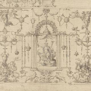 중앙 왕좌 아래 헤르메스와 그로테스크 무늬