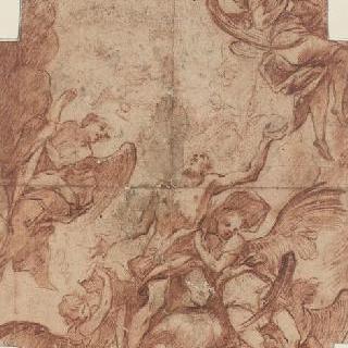 종려나무 잎을 들고 있는 천사들에게 들려진 박해받는 성자의 신격화