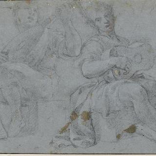 기타와 만돌린을 연주하며 노래부르는 앉아있는 두 남자