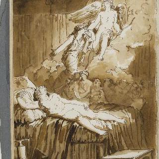 앨범 : 백지 : 침대 위에 잠든 인물과 다양한 인물들