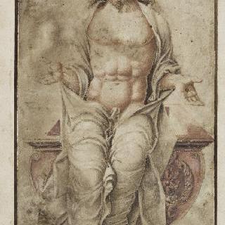 자신의 무덤 위에 앉아있는 가시나무 화관을 쓴 그리스도