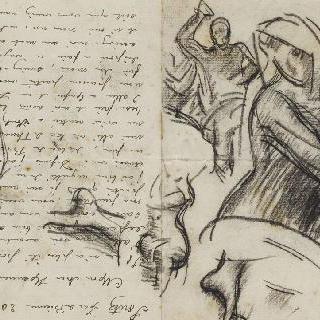 미켈란젤로의 최후의 심판의 그리스도와 성모풍의 크로키