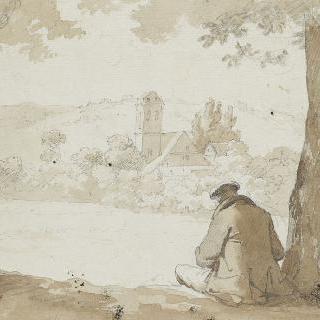 풍경 속 앉아있는 남자의 뒷모습
