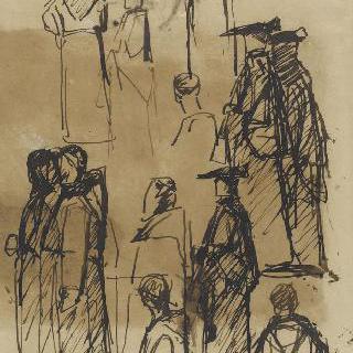 로마, 빌라 메디치의 테라스의 신부들과 사제들의 모습