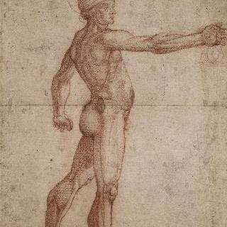 오른팔을 뻗은 채 우측 방향의 투구를 쓴 나체의 남자