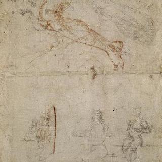 앉아있는 청년과 발, 다리 습작 이미지