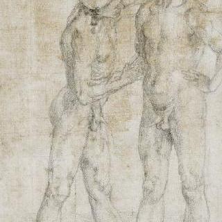 벌거벗은 남자의 어깨를 붙잡고 있는 나체의 남자