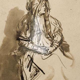 두 손을 무릎에 올려놓고 앉아있는 긴 베일을 쓴 여인 (사스키아)