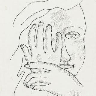 무제, 부여된 제목 : 두 손으로 감싼 얼굴