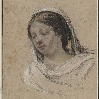 좌측 방향으로 몸을 돌린 하얀 베일로 머리를 덮은 여인의 두상