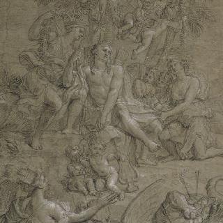 피통 뱀의 패배 후에 승리의 관을 쓴 아폴론