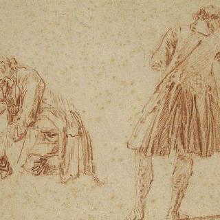 오른쪽 : 나팔수의 뒷모습. 왼쪽 : 각반을 매는 바닥에 무릎꿇은 남자