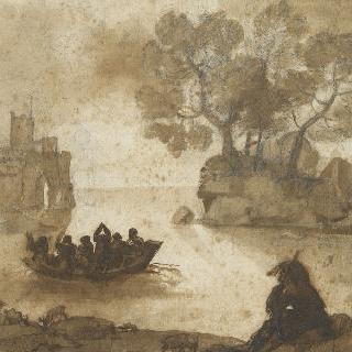 풍경, 도선, 좌측의 성, 사람들이 타고 있는 작은 배