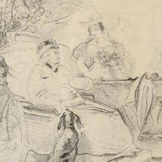 젊은 여인과 대화를 나누는 안락의자에 앉아있는 신체가 자유롭지 못한 노인