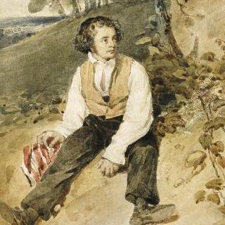 긴 소매의 옷을 입은 제방 위에 앉아있는 청년