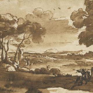 강을 지나가는 풍경과 11명의 군상