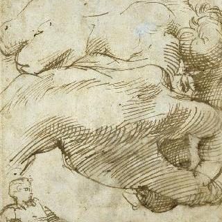 누워있는 벌거벗은 남자, 한 손 습작과 벌거벗은 남자의 뒷모습 습작