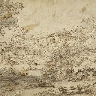 풍경. 중앙의 고대 기념물