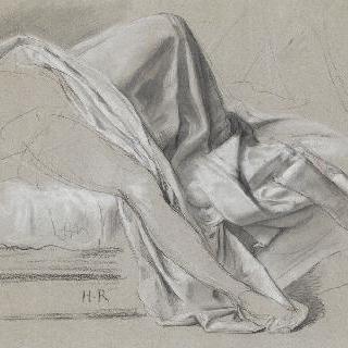 누워있는 인물의 주름진 옷 습작