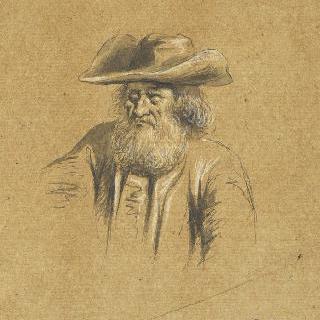 챙이 넓은 모자를 쓴 수염 난 농부