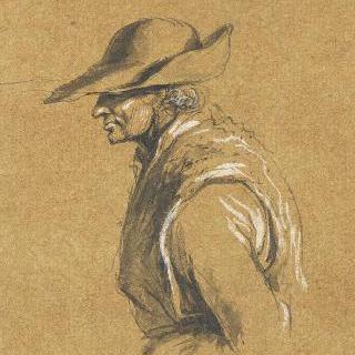 챙이 넓은 모자를 쓴 풋내기 농부의 왼쪽 측면 흉상