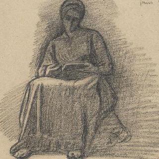 앉아서 독서하는 여인의 정면