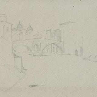 로마 테베라 강의 전경 (크로키), 중앙의 다리와 뒤쪽의 두 개의 둥근 지붕