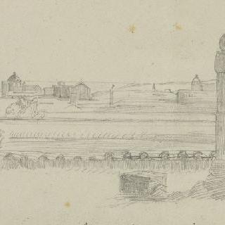 수평선의 로마의 전경, 첫 번째 열, 받침대 위의 흉상