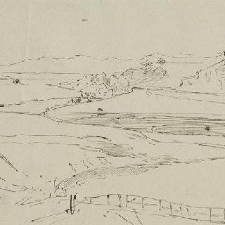 로마 평야. 중앙의 테베레강, 오른쪽의 절벽