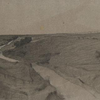 언덕 사이로 꾸불꾸불한 테베레강의 전경. 오른쪽 수평선쪽에 보이는 공원의 울타리