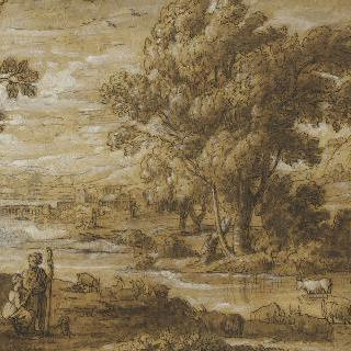 강가에서 염소떼와 소떼들을 지키는 목동과 여자 목동