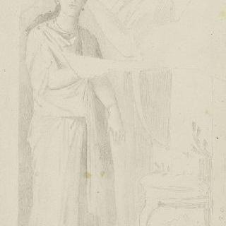 폼페이 프레스코화풍의 습작 : 주름진 옷을 입은 서 있는 여인 이미지