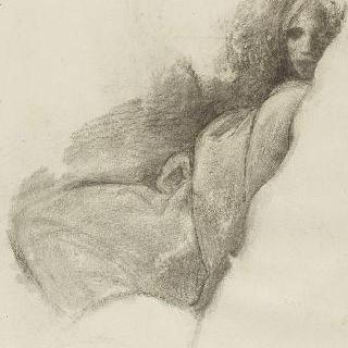 주름진 옷을 입은 앉아있는 여인의 왼쪽 옆 모습과 정면의 얼굴