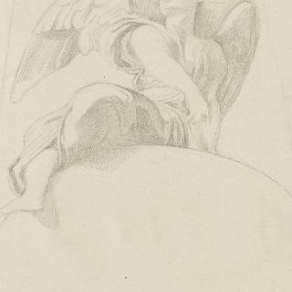 복제화 : 둥근 창 위의 긴 드레스를 입은 천사