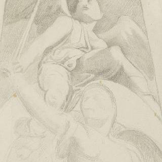 복제화 : 양남검을 든 여인과 달 위에 앉아있는 어린 천사