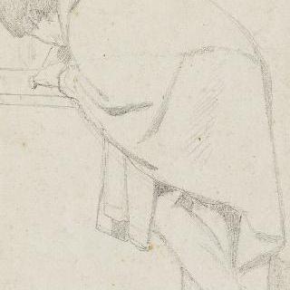 주름진 옷을 입은 탁자쪽으로 몸을 기울이며 서 있는 남자 습작