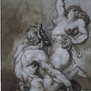 여자를 잡고 있는 사티로스