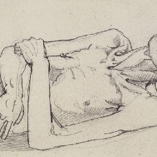 왼쪽을 향해 누워있는 뼈가 앙상한 단식 중의 남자 상체 습작