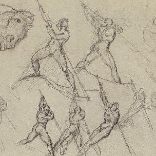 장대를 사용하는 어부, 앉아 있는 나체 여자, 말 두상에 대한 여덟 습작
